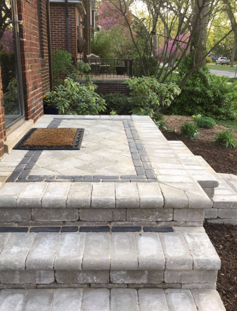 paver porch steps with contrasting brick border