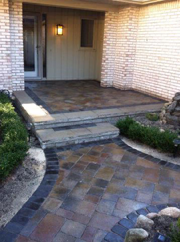 Brick Front Walkway and Porch