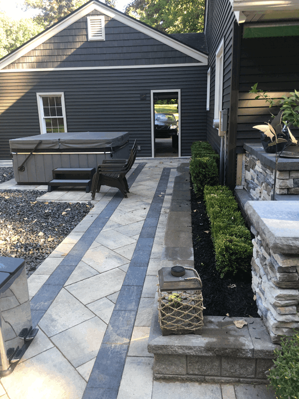 Back yard landscaping project - brick pavers  After