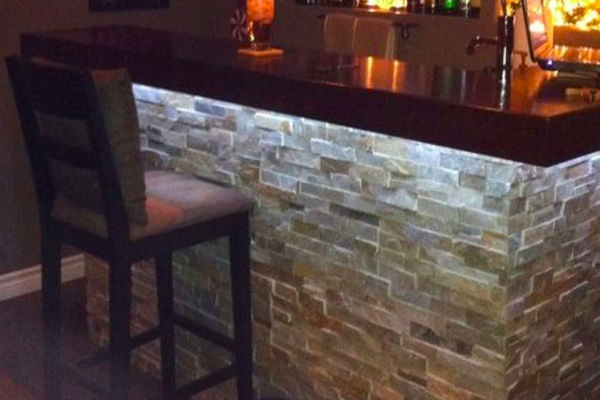 Bar Area Indoor Stone Installation