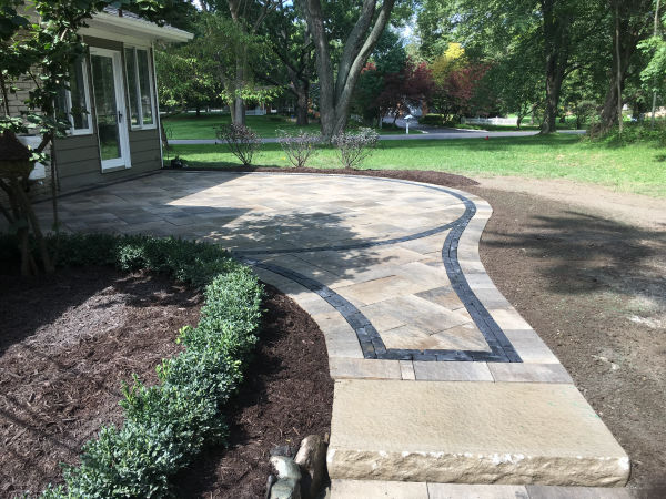 Brick Paver Patio and Walkway with Contrasting Paver Border