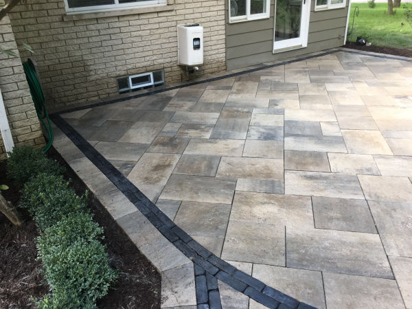 Brick Paver Patio with Contrasting Paver Border View 2