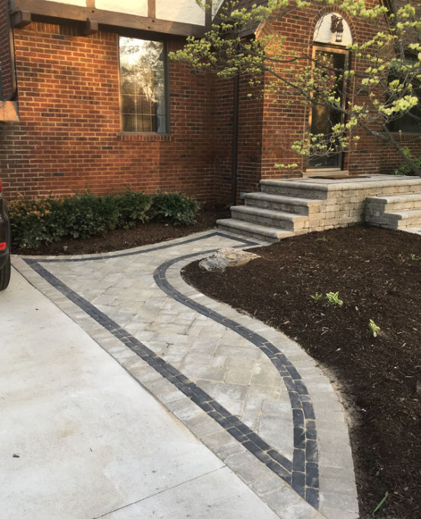 paver front walkway, steps and porch