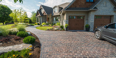 curb appeal with paver driveway installation in Michigan
