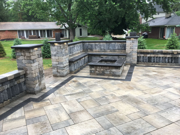 Brick Paver Patio with Bench Seating