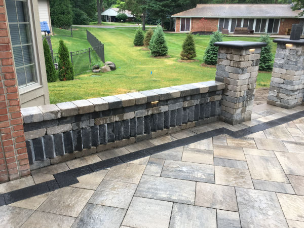Paver Patio with Garden Wall  and Seating
