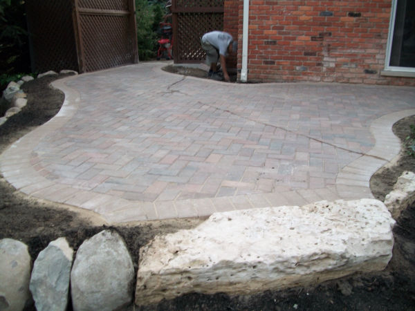 Brick Paver Patio and Stone Retaining Wall 2