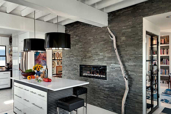 Kitchen with Stack Stone Wall and Fireplace