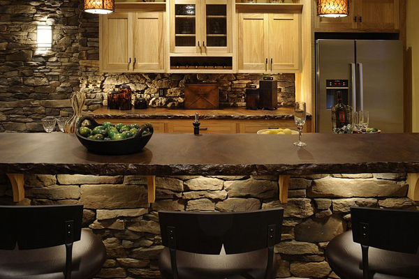 Kitchen Bar with Stone Installation Michigan