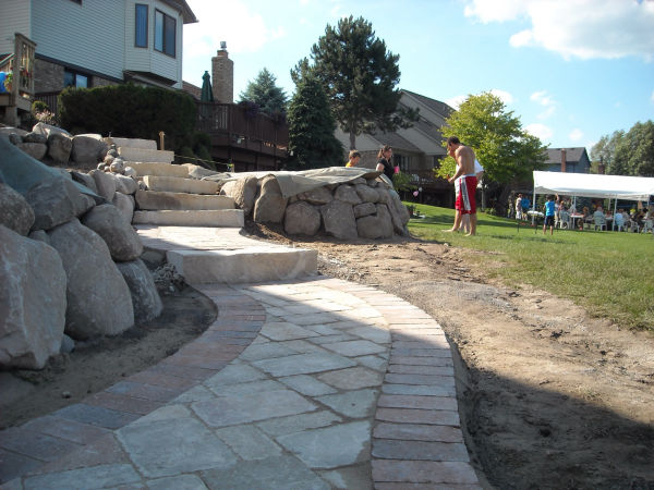 Stone Retaining Wall and Brick Paver Walkway 3
