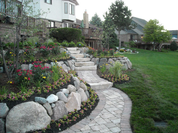 Stone Retaining Wall Installation