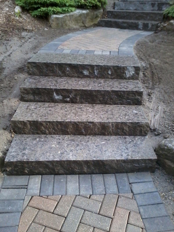 solid granite step installation